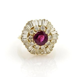 Other Estate 5.50ct Diamonds Pink Sapphire 14k Gold Cocktail Ring 6.75