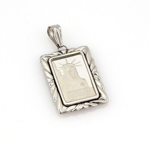 Estate 5g Pure Platinum 1985 Liberty Ingot Coin Pendant With Platinum Frame