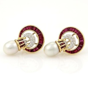 Other Estate 6.40ct Baguette Rubies Pave Diamonds Pearls Drop Earrings In 18k Ygold