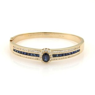 Estate 6.5ct Diamonds Sapphire 14k Yellow Gold Bangle Bracelet