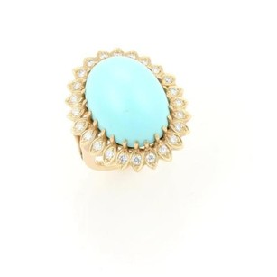 Estate Cabochon Turquoise Diamonds Cocktail Ring In 14k Yellow Gold