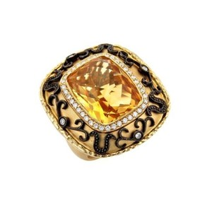 Other Estate Citrine Diamonds 14k Yellow Darken Gold Lace Ring