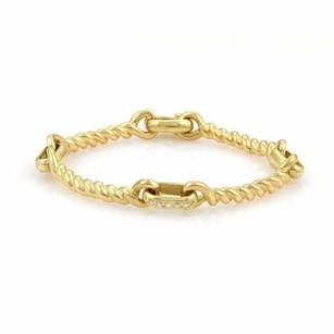 Estate Diamonds 18k Yellow Gold Rope Design Curved Link Bracelet