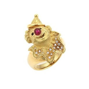 Estate Diamonds Ruby 18k Yellow Gold Clown Ring -size