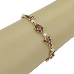 Other Estate Garnet Pearls I Love U Letter 14k Rose Gold Link Bracelet