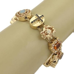 Estate Multi-color Gems Assorted Shape Slide Charm 14k Yellow Gold Bracelet