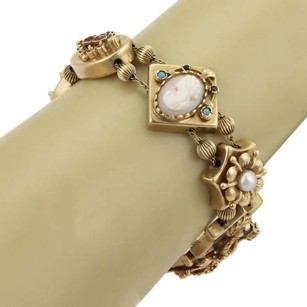 Estate Opal Amethyst Cameo Garnet Charms 14k Yellow Gold Slide Bracelet