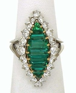 Estate Platinum 18k Yellow Gold 4.3ctw Diamond Emerald Ladies Cocktail Ring