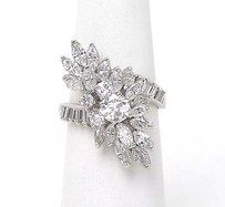 Estate Platinum 3.39ctw Marquiseround Baguette Cut Diamond Long Cocktail Ring