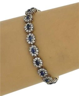 Estate Vintage 14k White Gold 11ctw Diamond Sapphire Tennis Bracelet