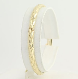 Etched Oval Bangle Bracelet 34- 14k Yellow Gold Womens Fine Estate Textured