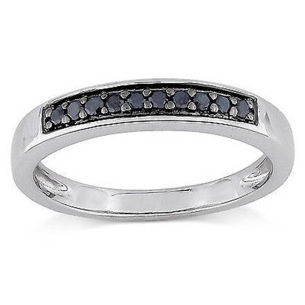 Other Sterling Silver 110 Ct Tw Black Diamond Fashion Engagment Band Ring