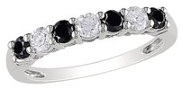 Other 10k White Gold 12 0.5 Ct Tdw Black And White Diamond Aniversary Ring G-h