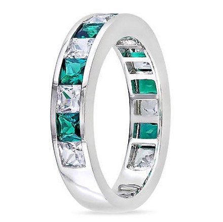 Other 2 13 Ct Tgw White Sapphire Emerald Fashion Ring In Sterling Silver