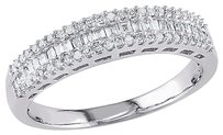 14k White Gold 13 Ct Parallel Baguette And Round Diamonds Eternity Ring