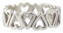 Eternity Heart Band - Sterling Silver 4.5-4.75 Ring Womens Estate