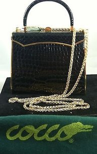 Other Vintage Cocco Bidente Croco Handbag Goldtone Excellent Black Clutch