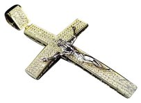 Exclusive Mens 10k Yellow Gold Simulated Diamond Jesus Crucifix Pendant 3.0