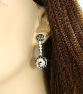 Other Exquisite 18k White Gold 4.21 Cts White Black Diamonds Ladies Dangle Earrings