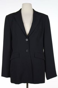 F Carriere Womens Black Solid Blazer Long Sleeve Polyester Two Button