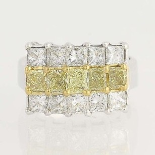 Fancy Yellow White Diamond Ring - 18k 22k Gold 14 Tiered 4.28ctw