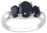 2.80 Ct Oval Black Sapphire 3 Three Stone Ring In Sterling Silver