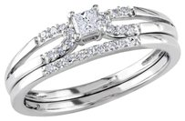 Sterling Silver Accent Diamond Wedding Ring Set 0.2 Ct Cttw G-h I2-i3