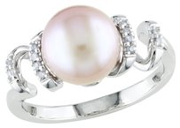 Other Silver 9-9.5 Mm Pink Freshwater Cultured Pearl Diamond Ring 0.05 Ct Gh I2-i3