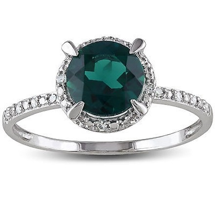 Other 10k White Gold Diamond And 1 12 Ct Tgw Emerald Fashion Ring Gh I2i3