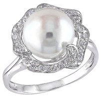 Other Silver Ring With 9-10mm Freshwater Pearl White Topaz Gemstones