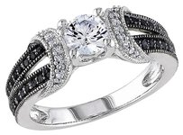 Other Sterling Silver 14 Ct Black White Diamond 58 Ct White Sapphire Ring