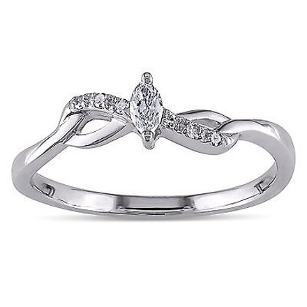 Other 10k White Gold 110 Ct Marquise And Round Diamonds Tw Engagement Ring Gh I2-i3