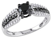 Other 10k White Gold 34 Ct Black And White Diamond Tw Fashion Ring Gh I2-i3
