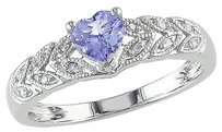 Other 10k White Gold Diamond And 38 Ct Tgw Tanzanite Heart Ring Gh I2-i3