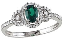 10k White Gold 16 Ct Diamond Tw And 25 Ct Tgw Emerald Fashion Ring Gh I2i3