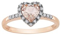 10k Pink Gold 110 Ct Diamond And 58 Ct Morganite Heart Love Love Ring Gh I2i3