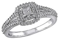 Sterling Silver 38 Ct Princess And Round Diamonds Tw Ring Gh I2-i3