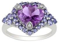 Sterling Silver Amethyst Tanzanite Diamond Accent Cluster Ring 3 Ct G-h I2-i3