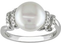 Other Silver 9-9.5 Mm White Freshwater Cultured Pearl Diamond Ring 0.05 Ct Gh I2-i3