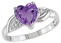Other 10k White Gold Diamond And 1 Ct Tgw Amethyst Crossover Heart Love Ring Gh I2-i3
