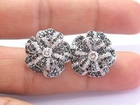 Other Fine Black White Diamond White Gold Flower Stud Earrings 14kt 19.8mm 3.16ct