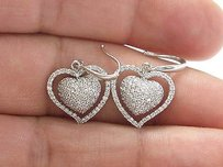 Fine Diamond Pave Heart Shape White Gold Drop Earrings 14kt 1.00ct 1