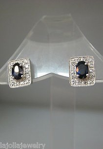 Other Fine Estate 14k White Gold Sapphire Diamond Earrings