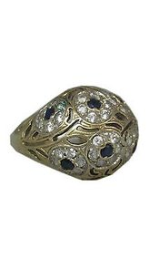 Fine Estate 14k Yellow Gold Blue Sapphire Ladies Ring 8.75