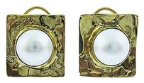 Fine Estate 14k Yellow Gold Hammered Pearl Earrings