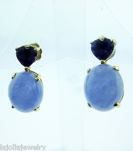 Other Fine Estate 14k Yellow Gold Purple Jade Earrings