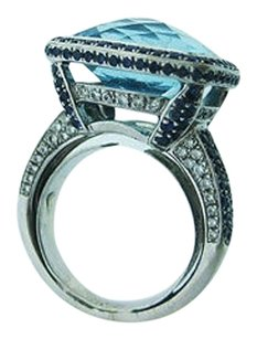 Other Fine Estate 18k White Gold Ladies Ring W Blue Topaz Sapphires Diamonds