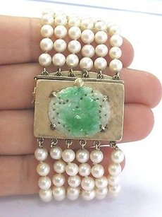 Other Fine Jade Pearl 6-strand Yellow Gold Bracelet 7.25 1.5 Wide 14kt