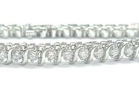 Fine Round Cut Diamond Tennis Bracelet 14kt 3.02ct