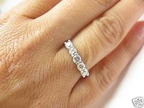 Fine 14kt Five Stone Round Cut Anniversary Band White Gold 0.72ct